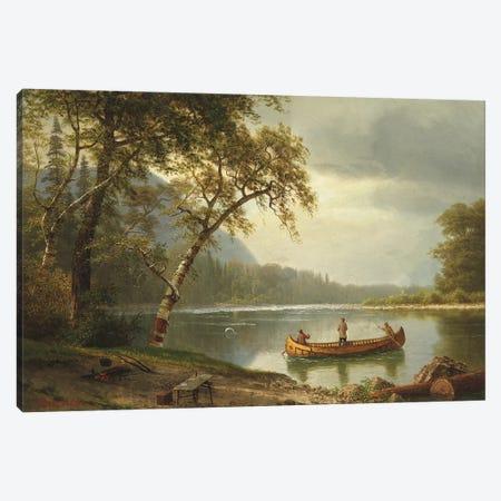 Salmon fishing on the Caspapediac River  Canvas Print #BMN5592} by Albert Bierstadt Canvas Art Print