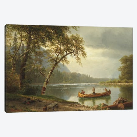 Salmon fishing on the Caspapediac River  Canvas Print #BMN5592} by Albert Bierstadt Canvas Art Print