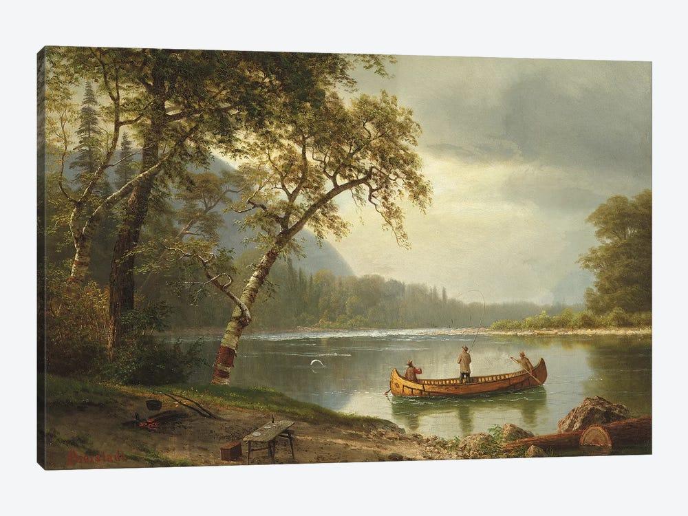 Salmon fishing on the Caspapediac River  by Albert Bierstadt 1-piece Canvas Wall Art