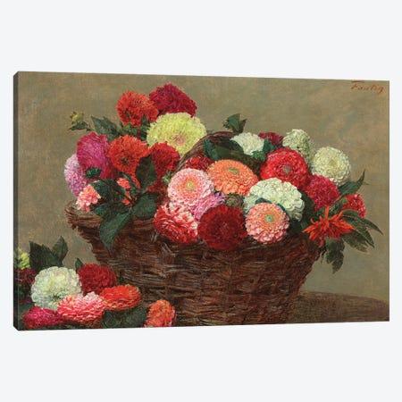 Basket of dahlias, 1893  Canvas Print #BMN5593} by Ignace Henri Jean Theodore Fantin-Latour Canvas Print