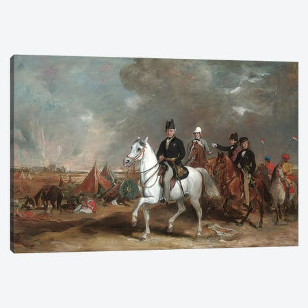 The Viscount Hardinge (Governor-General Of India) On The Battlefield Of Ferozeshah, Accompanied By His Sons And Colonel Wood  Canvas Print #BMN5595} by Sir Francis Grant Canvas Art