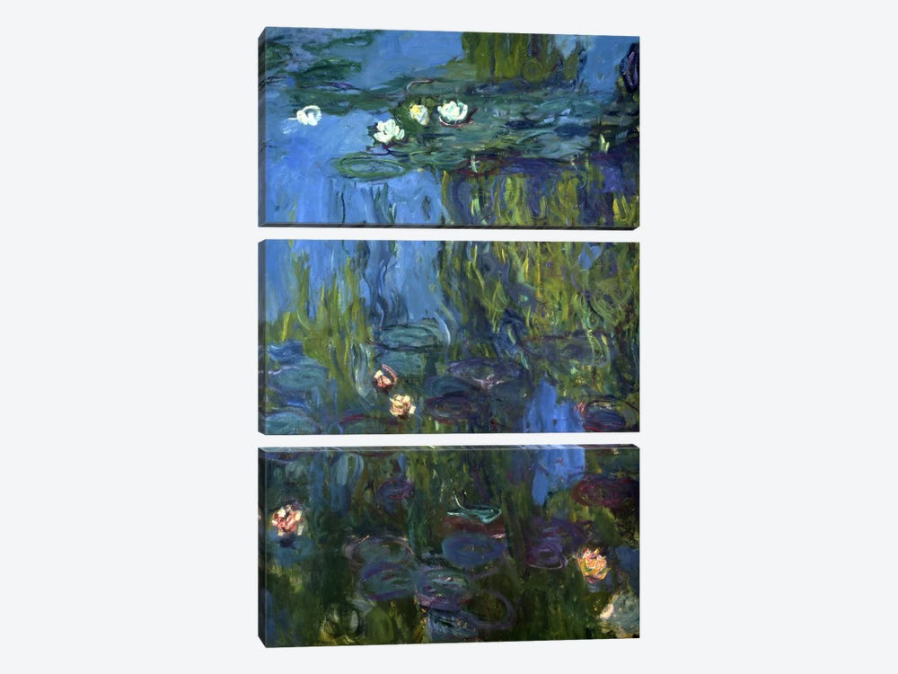 Nympheas, 1914-17 by Claude Monet 3-piece Canvas Print