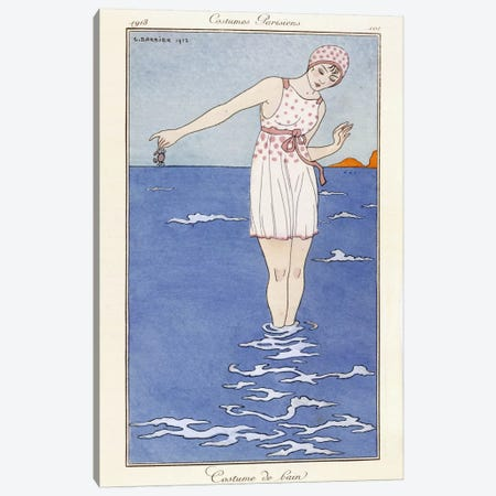 Parisian clothing: Bathing costume, 1913 (coloured print) Canvas Print #BMN55} by George Barbier Canvas Art