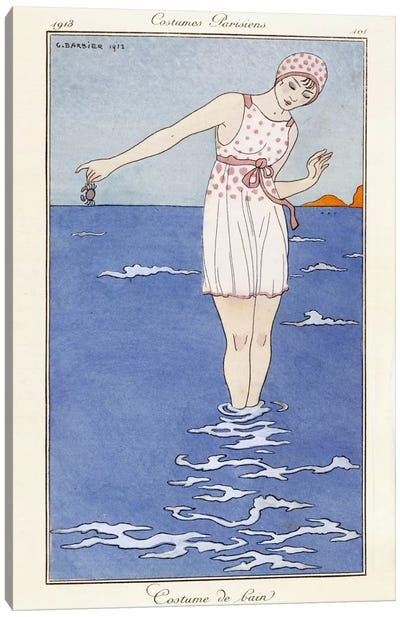 Parisian clothing: Bathing costume, 1913 (coloured print) Canvas Art Print
