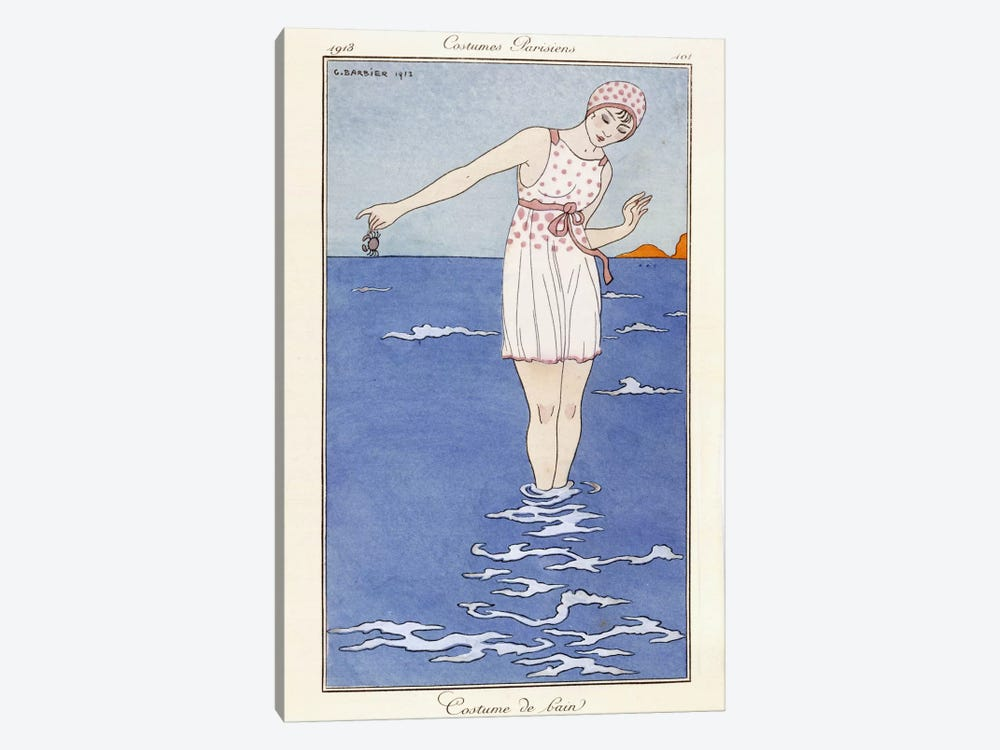 Parisian clothing: Bathing costume, 1913 (coloured print) by George Barbier 1-piece Canvas Art