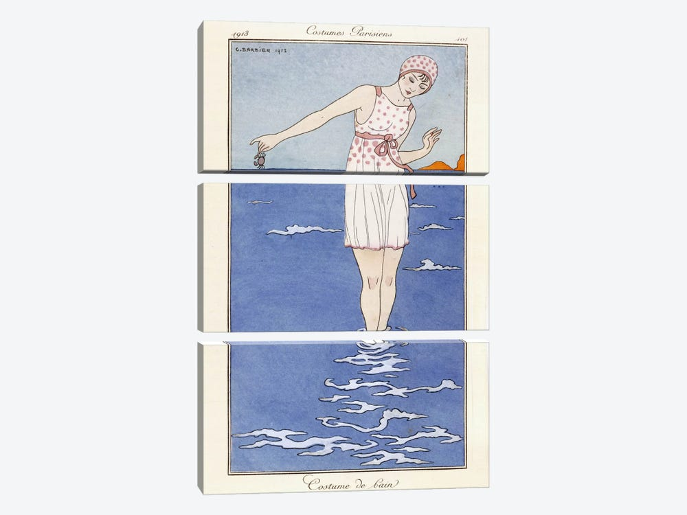 Parisian clothing: Bathing costume, 1913 (coloured print) by George Barbier 3-piece Canvas Wall Art