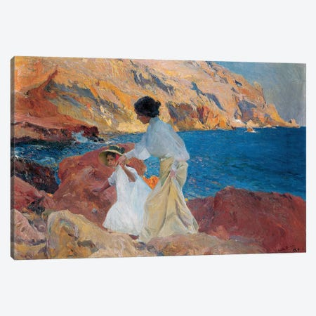 Clotilde and Elena on the Rocks, Javea, 1905  Canvas Print #BMN5603} by Joaquin Sorolla y Bastida Art Print