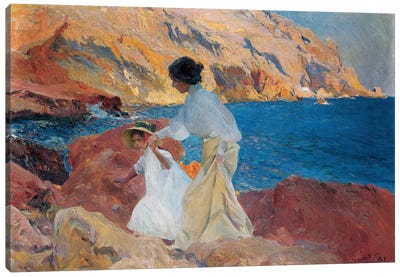 Clotilde and Elena on the Rocks, Javea, 1905  Canvas Art Print