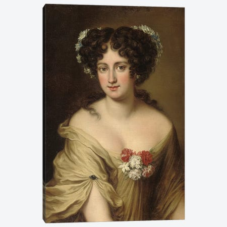 Portrait of Contessa Ortensia Ianni Stella, bust length, in an ivory chemise, with flowers in her hair  Canvas Print #BMN5605} by Jacob Ferdinand Voet Canvas Art