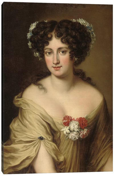 Portrait of Contessa Ortensia Ianni Stella, bust length, in an ivory chemise, with flowers in her hair  Canvas Art Print