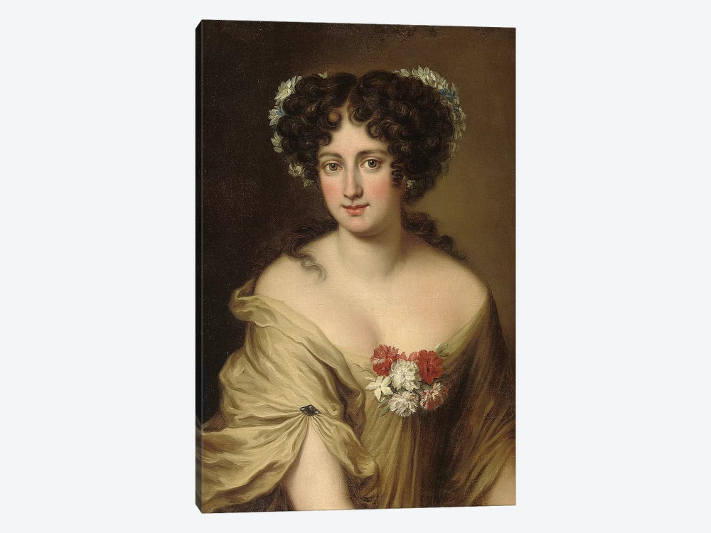 Portrait of Contessa Ortensia Ianni Stella, bust length, in an ivory chemise, with flowers in her hair  by Jacob Ferdinand Voet 1-piece Canvas Artwork