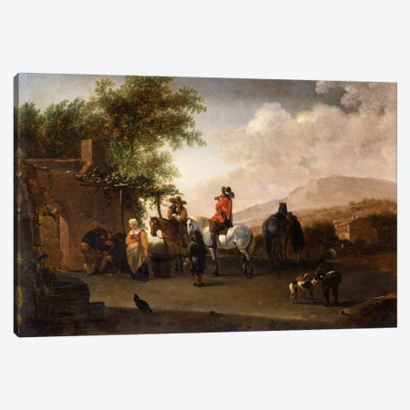 Travellers on horseback taking refreshment on a mountain pass, in an Italianate landscape  Canvas Print #BMN5607} by Gerrit Adriaensz Berckheyde Canvas Art