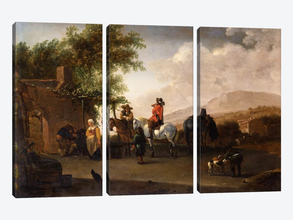 Travellers on horseback taking refreshment on a mountain pass, in an Italianate landscape  by Gerrit Adriaensz Berckheyde 3-piece Canvas Artwork