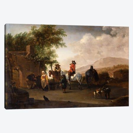 Travellers on horseback taking refreshment on a mountain pass, in an Italianate landscape  Canvas Print #BMN5607} by Gerrit Adriaensz Berckheyde Canvas Art