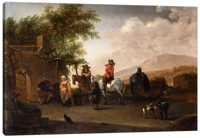 Travellers on horseback taking refreshment on a mountain pass, in an Italianate landscape  Canvas Art Print