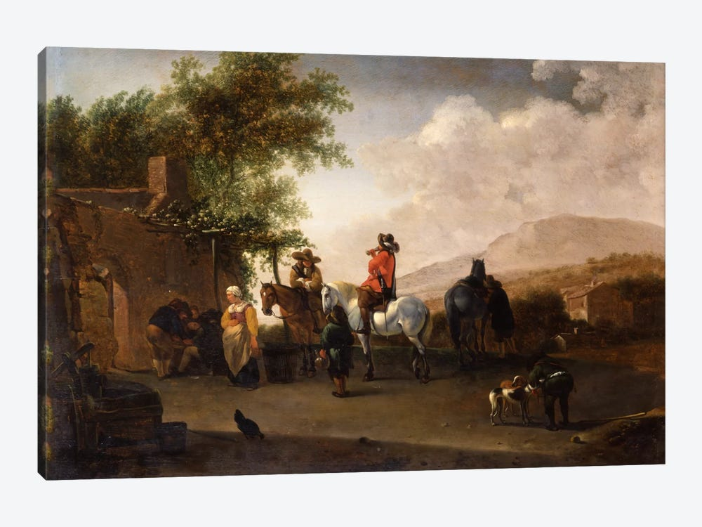 Travellers on horseback taking refreshment on a mountain pass, in an Italianate landscape  by Gerrit Adriaensz Berckheyde 1-piece Canvas Art