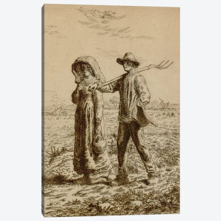 Going to Work, 1863  Canvas Print #BMN5611} by Jean-Francois Millet Canvas Art