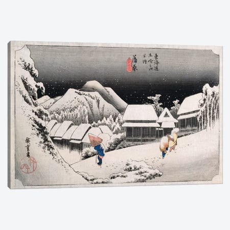 Kanbara, yoru no yuki (Kanbara: Night Snow) Canvas Print #BMN5616} by Utagawa Hiroshige Art Print