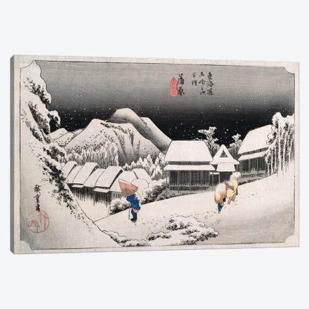Night Snow, Kambara, c.1834-35 (Private Collection) Canvas Print #BMN5616} by Utagawa Hiroshige Art Print