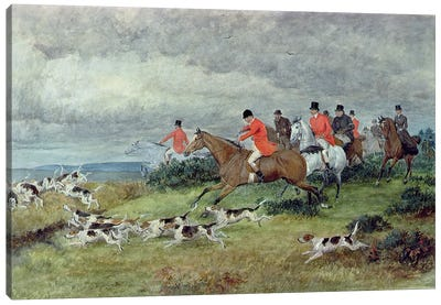 Fox Hunting in Surrey, 19th century  Canvas Art Print