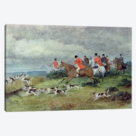 Fox Hunting in Surrey, 19th century  Canvas Print #BMN561} by Randolph Caldecott Canvas Art Print