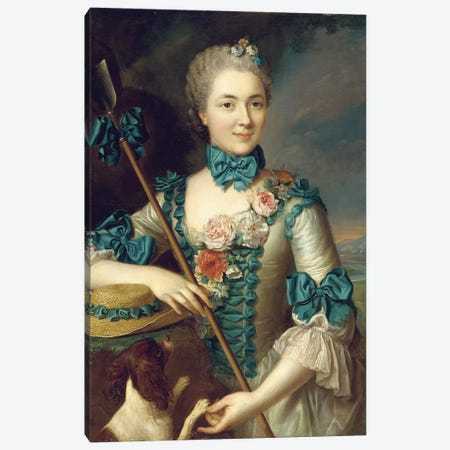 Portrait of a lady, said to be Madame Louise Suzanne Edmee Martel as a shepherdess  Canvas Print #BMN5622} by French School Canvas Print