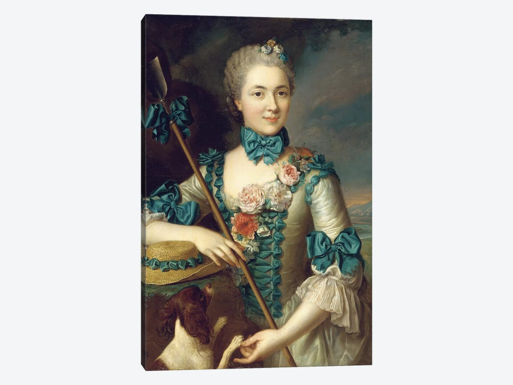 Portrait of a lady, said to be Madame Louise Suzanne Edmee Martel as a shepherdess  by French School 1-piece Art Print