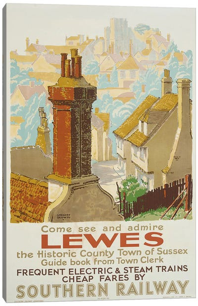 Lewes, poster advertising Southern Railway Canvas Art Print