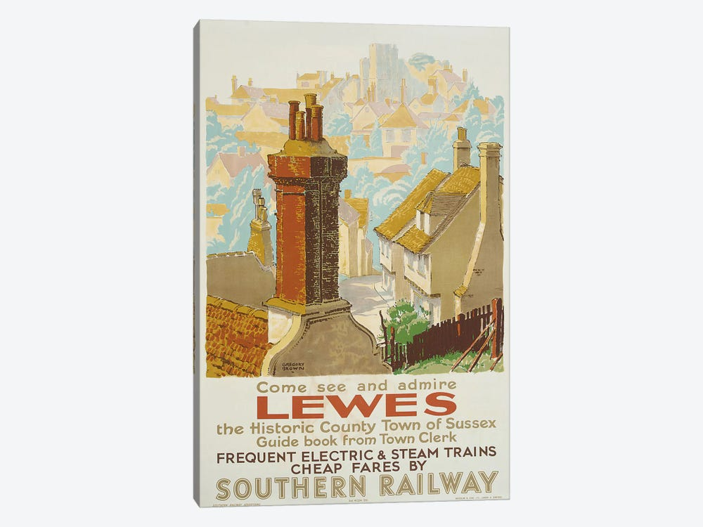 Lewes, poster advertising Southern Railway  by Gregory Brown 1-piece Canvas Wall Art
