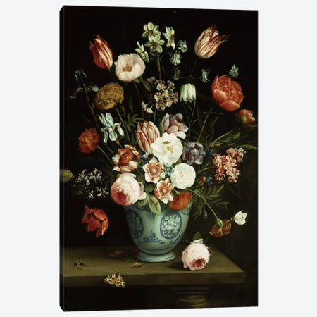 Flowers in a blue and white porcelain vase, with moths and other insects on a ledge  Canvas Print #BMN5636} by Jan van Kessel Canvas Art Print