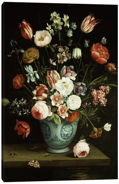 Flowers in a blue and white porcelain vase, with moths and other insects on a ledge  Canvas Art Print
