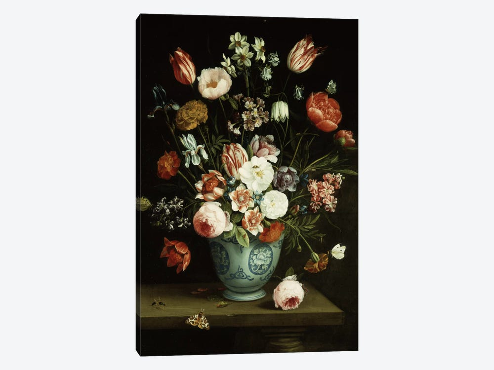 Flowers in a blue and white porcelain vase, with moths and other insects on a ledge by Jan van Kessel 1-piece Canvas Artwork