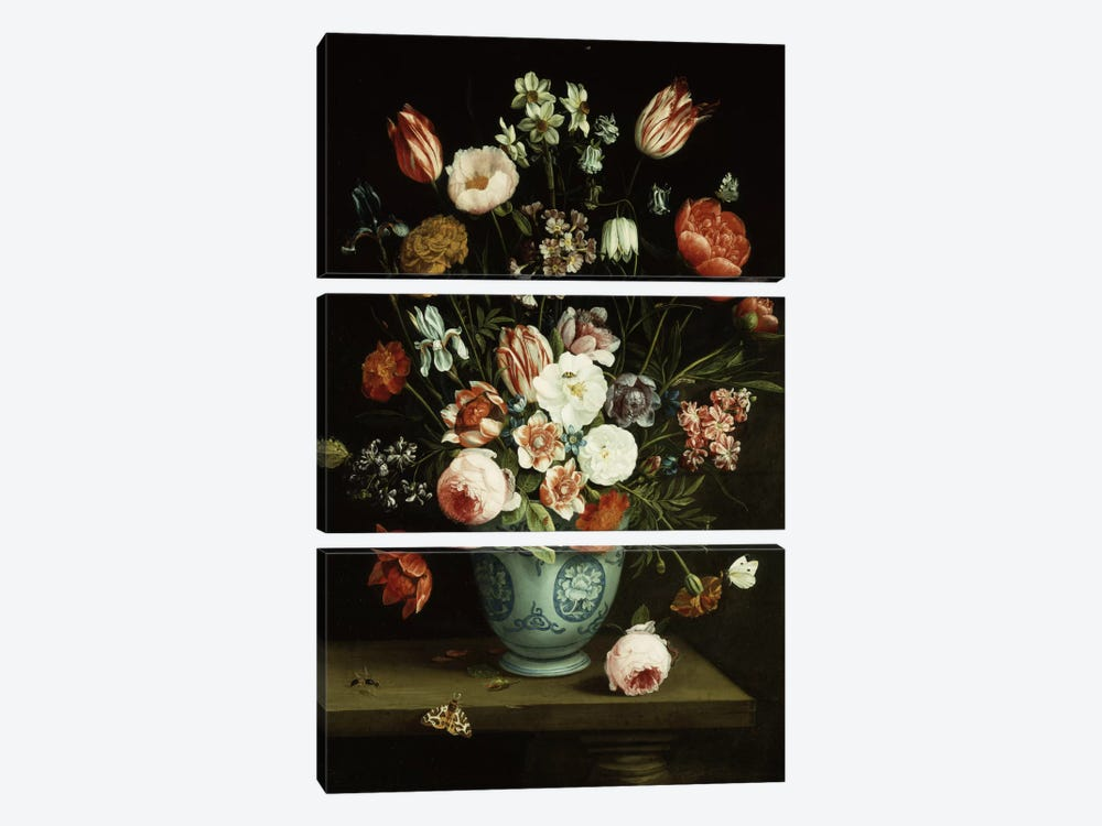 Flowers in a blue and white porcelain vase, with moths and other insects on a ledge  by Jan van Kessel 3-piece Canvas Wall Art