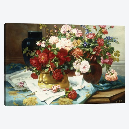 Still Life with Flowers and Sheet Music, c.1877  Canvas Print #BMN5645} by Jules Etienne Carot Canvas Wall Art