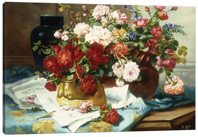Still Life with Flowers and Sheet Music, c.1877  Canvas Art Print