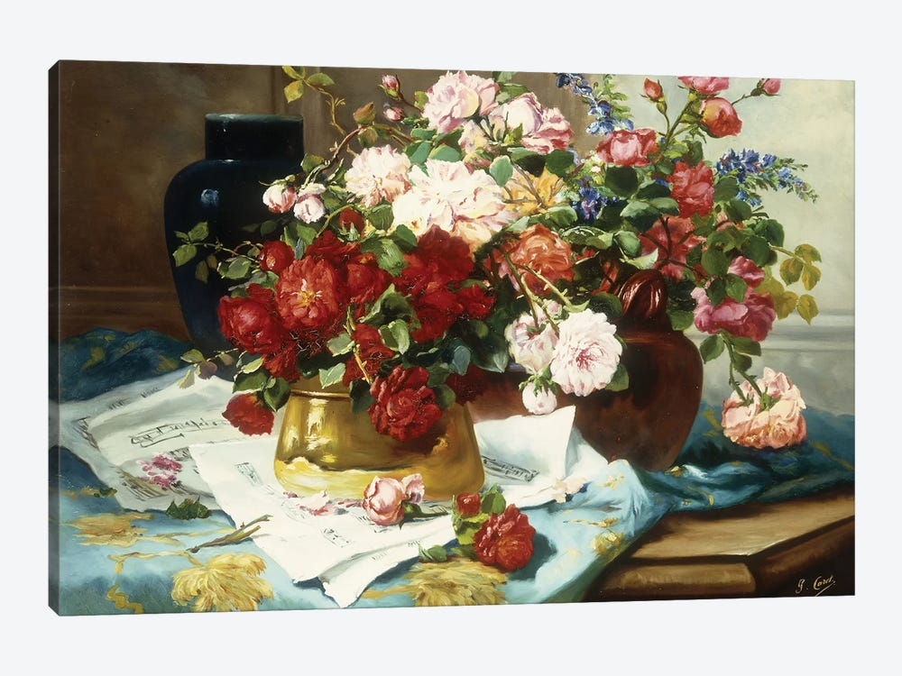 Still Life with Flowers and Sheet Music, c.1877  by Jules Etienne Carot 1-piece Canvas Artwork