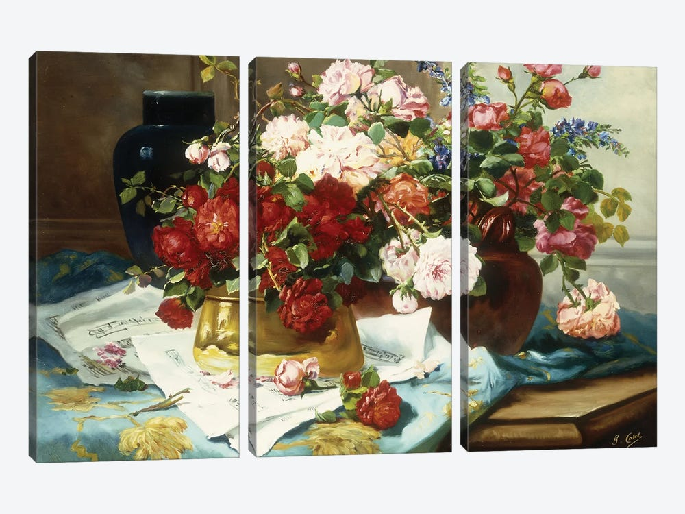 Still Life with Flowers and Sheet Music, c.1877  by Jules Etienne Carot 3-piece Canvas Wall Art