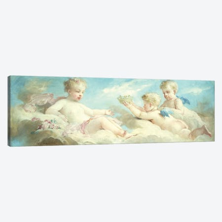 Putti frolicking in the Clouds  Canvas Print #BMN5646} by Charles Chaplin Canvas Wall Art