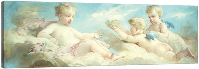 Putti frolicking in the Clouds  Canvas Art Print