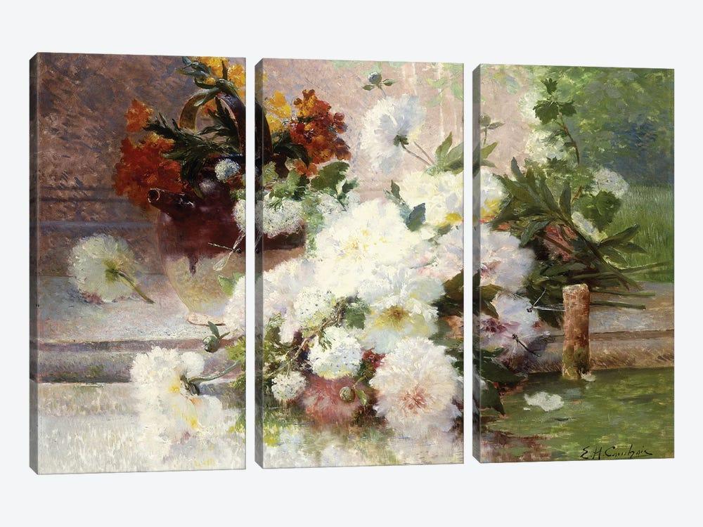 A Still Life with Autumn Flowers  by Eugene Henri Cauchois 3-piece Canvas Art