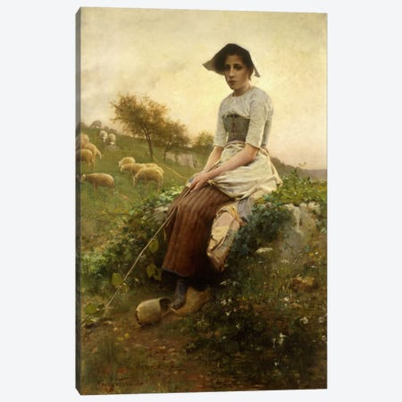The Shepherdess  Canvas Print #BMN5650} by Henry Paul Perrault Canvas Art