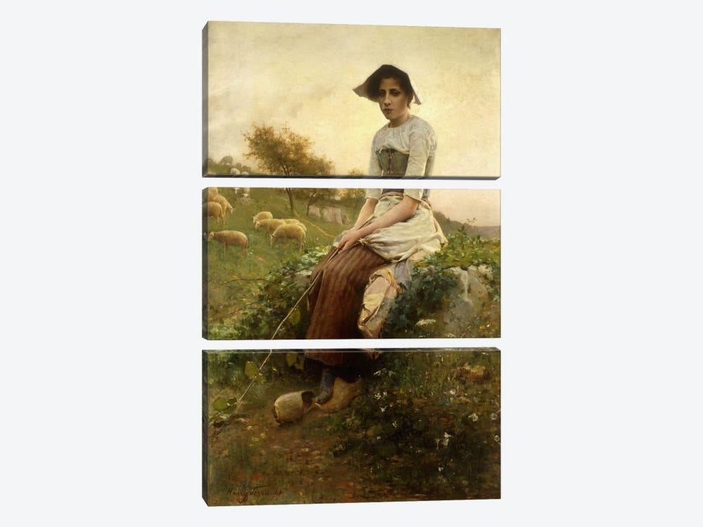 The Shepherdess  by Henry Paul Perrault 3-piece Canvas Art
