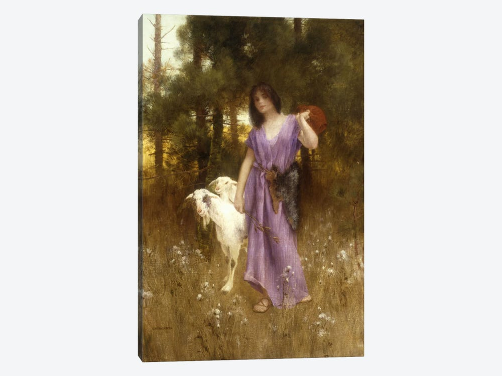 The Shepherdess by Carl Wunnerberg 1-piece Canvas Artwork