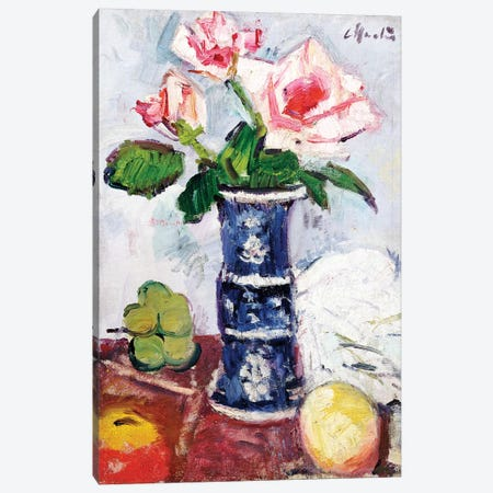 Pink Roses in a Chinese Blue and White Gu-shaped Vase  Canvas Print #BMN5654} by George Leslie Hunter Art Print