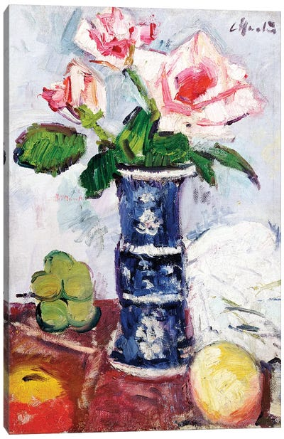 Pink Roses in a Chinese Blue and White Gu-shaped Vase  Canvas Art Print