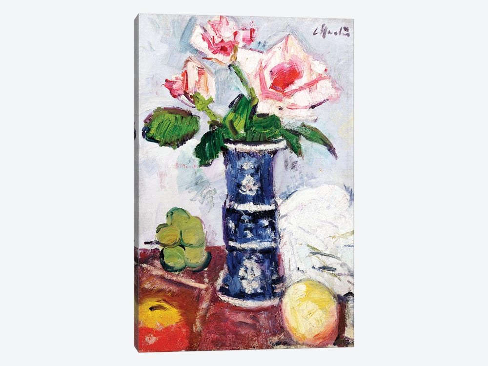 Pink Roses in a Chinese Blue and White Gu-shaped Vase  by George Leslie Hunter 1-piece Canvas Wall Art