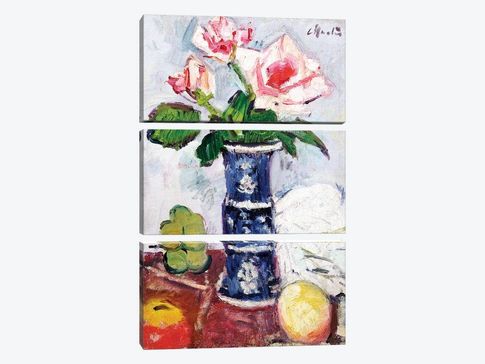 Pink Roses in a Chinese Blue and White Gu-shaped Vase  by George Leslie Hunter 3-piece Canvas Wall Art