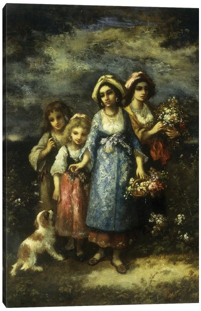 The Flower Gatherers, 1873  Canvas Art Print
