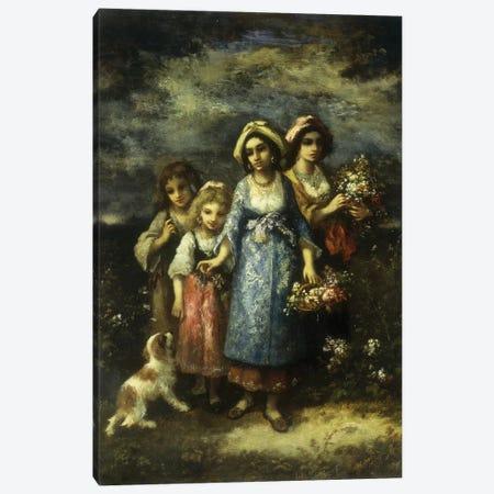The Flower Gatherers, 1873  Canvas Print #BMN5660} by Narcisse Virgile Diaz de la Pena Canvas Art Print