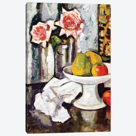 Still life with bowl of fruit and a vase of pink roses  Canvas Print #BMN5661} by George Leslie Hunter Art Print